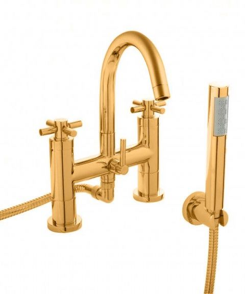 Hudson Reed Tec Crosshead Deck Mounted Bath Shower Mixer in DoratO 24ct Gold